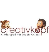"""Das Logo von creativkopf - Kinderspaß für jeden Anlass, besteht hauptsächlich aus dem Schriftzug """"creativkopf"""". Über dem """"c"""" und dem """"r"""" guckt ein junges fröhliches Mädchen hervor. Über dem """"o"""" und dem """"p"""" ein lachender Junge. In kleinerer Schrift darunter steht """"Kinderspaß für jeden Anlass"""""""
